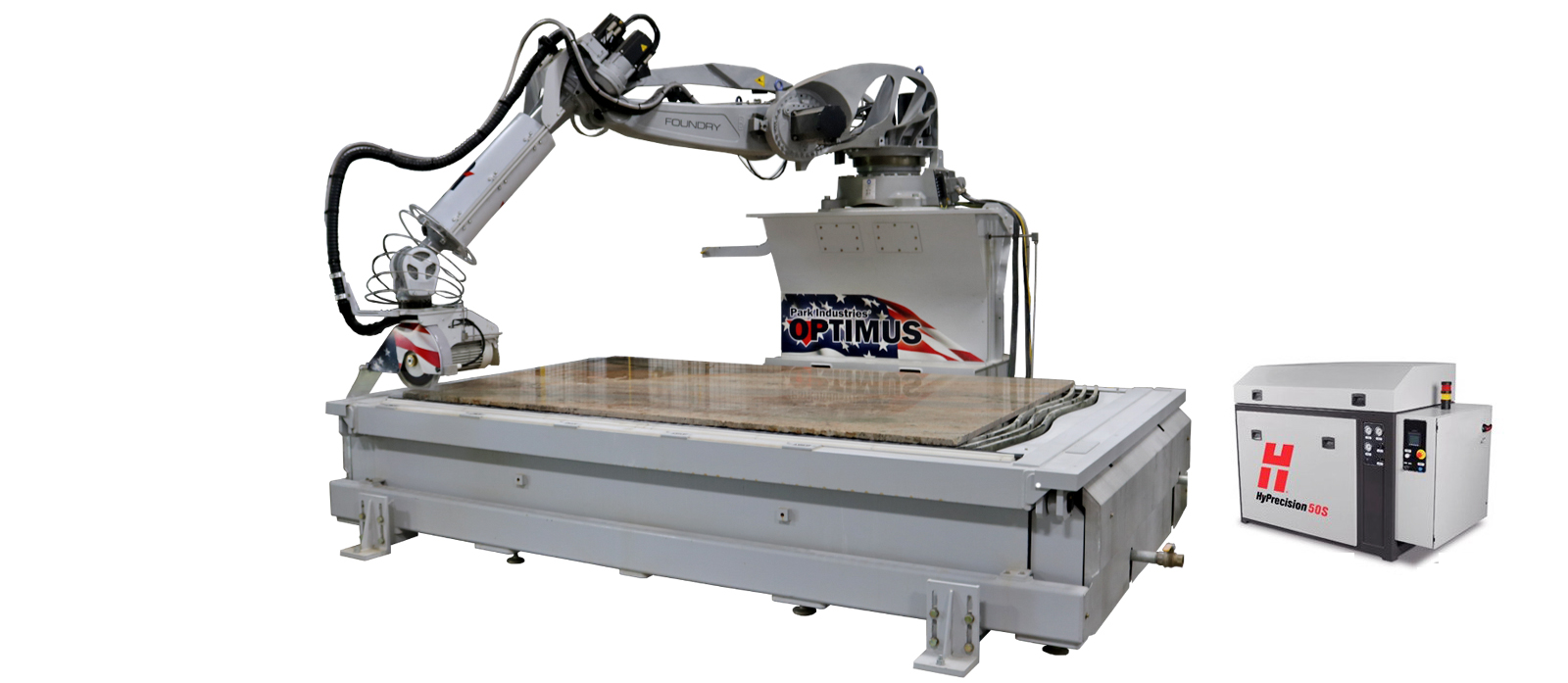 OPTIMUS Robotic Sawjet for stone cutting and stone countertop fabrication park industries robot